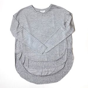 Bar lll gray silver high low shiny sweater S